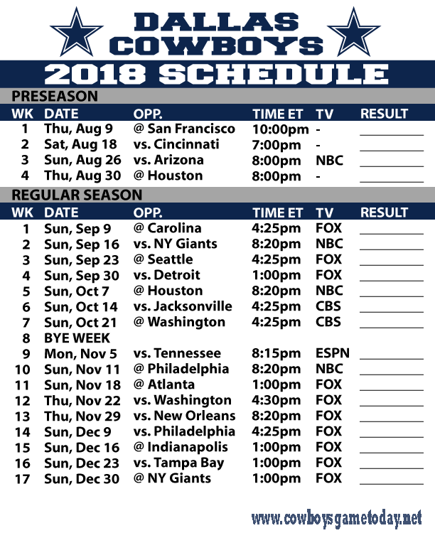 Cowboys Game schedule 2018